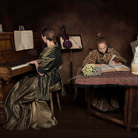 Mother and daughter time by Carola Kayen-mouthaan - People Family ( piano, girl, mother, woman, fine art, daughter, portrait )