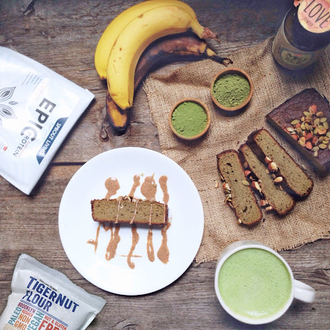 PROTEIN MATCHA BANANA BREAD WITH TIGERNUTS