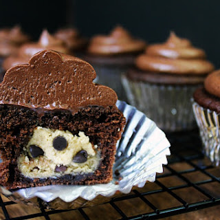 Dark Chocolate Cookie Dough Cupcakes