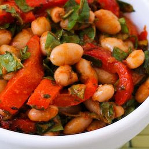 White Bean and Roasted Red Pepper Salad Recipe with Roasted Tomato-Basil Dressing