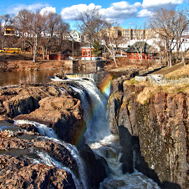 Great Falls in Paterson New Jersey  by Don Webb - City,  Street & Park  Historic Districts ( water, national park, sky, falls, spiderwebbphotography, paterson, rainbow, new jersey )