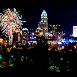 Charlotte On The 4th by Randell Whitworth - Public Holidays July 4th ( red, america, blue, queen, nc, white, fireworks, july, charlotte, 4th, usa, city )