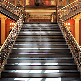 City Hall c. 1890 by Tina Stevens - Buildings & Architecture Other Interior ( filigree, stairs, steps, colors, interior, gold, landing, vintage, railing, 1890s, wood, stairway, victorian, bannister, staircase, 19th century, architecture, colours,  )