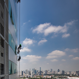 What a Job by Frank Photography - City,  Street & Park  Skylines ( window cleaning, view, bangkok, hight, skyscrapers, danger, fear )