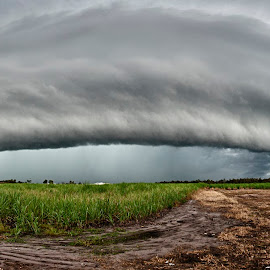 SEQLD Supercell by Kirsty Hellmech - Landscapes Cloud Formations ( clouds, supercell, seqld storm, storm, panorama )
