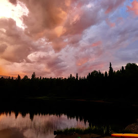 Fluffy Cloud Reflection  by Debbie Squier-Bernst - Landscapes Cloud Formations
