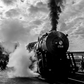 Steam Engine Train by Myra Brizendine Wilson - Transportation Trains ( train station, b & w photo, b & w, train, western maryland, western maryland train, smoke,  )