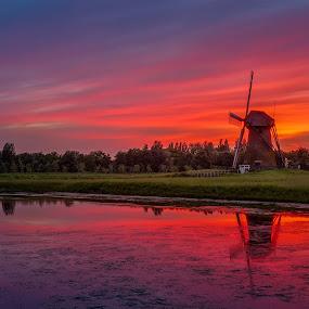 Beautiful colours after sunset at Pendrecht  by Rémon Lourier - Landscapes Sunsets & Sunrises