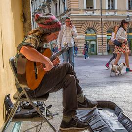 Street player by Stanislav Horacek - People Musicians & Entertainers