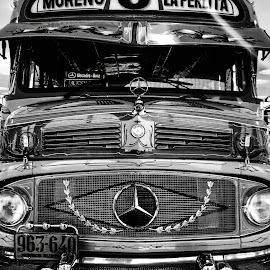 by Gemma-Louise Porter - Transportation Automobiles ( black and white, automobile, retro, mercedes, shiny )
