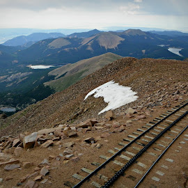 At the Top by Sandy Stevens Krassinger - Landscapes Travel ( mountains, railroad tracks, vista, snow, travel, landscape,  )