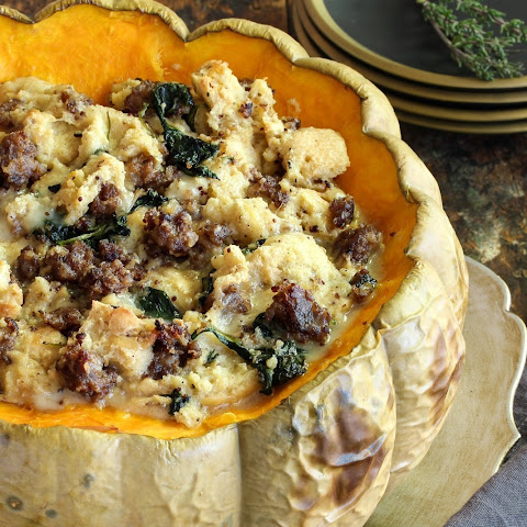 Savory Stuffed Pumpkin with Sausage and Gruyère