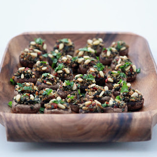 Stuffed Mushrooms With Arugula, Walnuts, and Sun-Dried Tomatoes