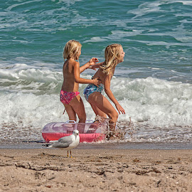 Playing in the Surf by Sandy Friedkin - Babies & Children Children Candids ( playing, little girls, children, ocean, beach, surf )