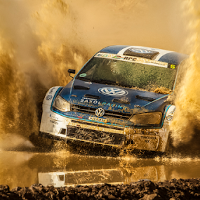 Splash by Johan Niemand - Sports & Fitness Motorsports ( water, rally, reflection, motor sport, splash, racing, dust, dirt, rally car )