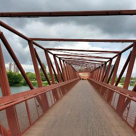 Bridge by Wan Loy Yeong - City,  Street & Park  Vistas ( red, perspective, bridge, steel, waterway, river,  )