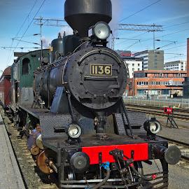 Tk3 1136 by Simo Järvinen - Transportation Trains ( locomotive, railroad, outdoor, finland, train, transportation, tampere, steam )