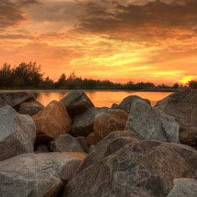 Sunset by Rashid Mohamad - Landscapes Sunsets & Sunrises ( hdr, jerudong, beach, yellow sunset, stones )