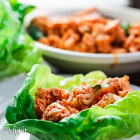 Buffalo Turkey Lettuce Wraps With Carrot Celery Slaw