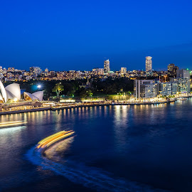 Circular Quay by Night by Jeremy Herbert - City,  Street & Park  Skylines ( sydney harbour, waterscape, harbour, circular quay, night, landscape, sydney, nightscape )