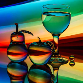 Edge of the Cosmos by Lisa Hendrix - Artistic Objects Other Objects ( glass fruit · inversion · fruit · reflection · glass pear · colorful · colors · art · sphere · negative light · mirror image · object · space · glass apple · mirror · color · apple · wine glass · glass · artistic · cosmos · rainbow · pear )