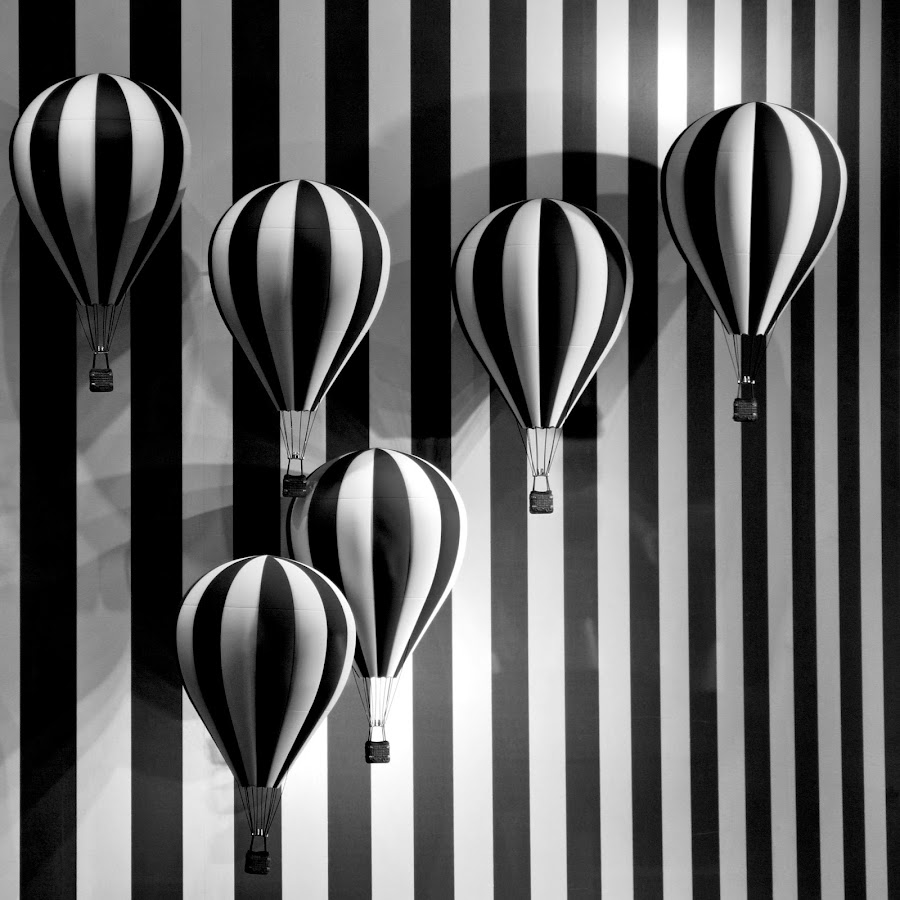 Hot Air Balloons by Lolotan Dalimunthe - Artistic Objects Other Objects ( hot air balloon, black and white, black and white collection,  )