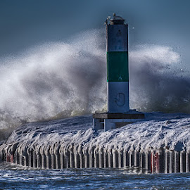 Wind, water and Ice on Lake Michigan by Brent Morris - Landscapes Waterscapes