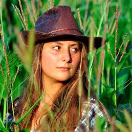 Filed Flower by Maja Lesar - People Portraits of Women ( field, portraits of women, cornflower, hat, girls, portrait,  )