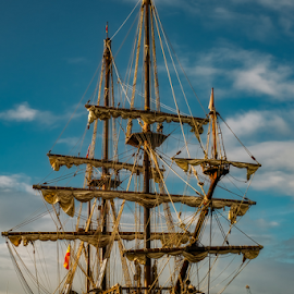 el galeon by Roberto Sorin - Transportation Boats ( galleon, galeon, ship, harbour, hull, 17th, spain, cannon, shroud, mast, rope, grand, valletta, armada, mizzenmast, mediterranean, rigging, andalucia, sail, deck, italy, maritime, replica, forecastle, sternpost, vessel, conquistador, spanish, authentic, seafaring, galley, vintage, nest, stern, century, boat, berthed, foremast, malaga, malta, mainmast, waterfront, nautical,  )