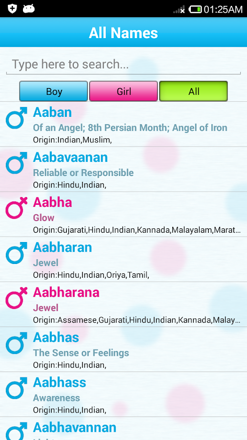 Indian Baby Names Meaning Screenshot