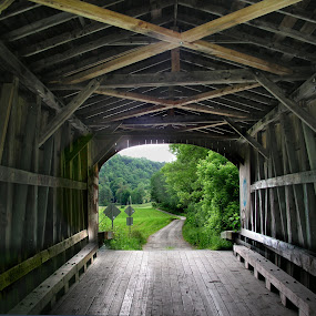 Beyond the Bridge by Dorothy Koval - Buildings & Architecture Bridges & Suspended Structures ( wooden beams, pwcabstractdiamonds-dq, pattern, wooden structure, covered bridge, vermont, bridge, road, construction, pwcbridges, tunnel )