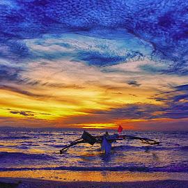 Heart by Karen Lee - Transportation Boats ( life, net like clouds, float, wooden boat )