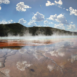 The Grand Prismatic Spring #2 by Kevin Whitaker - Landscapes Mountains & Hills ( sky, beauty in nature cloud )