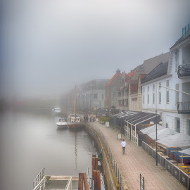 Along the river by Jørgen Schei - City,  Street & Park  Street Scenes ( fredrikstad, fog, street, river, mist, city )