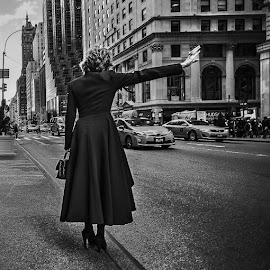 Lady in Black by Oleksiy Ohurtsov - City,  Street & Park  Street Scenes ( black and white, bw, lady, scene, manhattan, new york, architecture, usa, city,  )