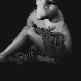Draped statue by Jason Elphick - Nudes & Boudoir Artistic Nude ( red, black and white, nipple, drape, skin )