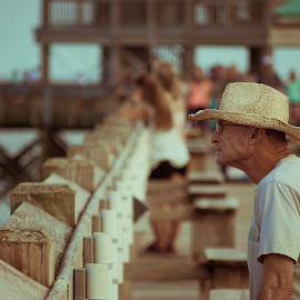 Reflecting by Prentiss Findlay - People Street & Candids ( ocean pier, candid man at ocean, pier, man at ocean, man at pier )