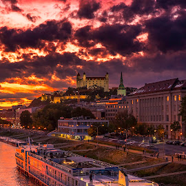 Sunset by Gabriel Konde - Buildings & Architecture Other Exteriors ( clouds, bratislava, blue hour, sunset, danube, city, river,  )
