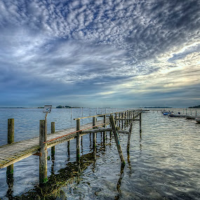 Nakskov Fjord by Kim  Schou - Landscapes Cloud Formations ( kim schou, hdr, boats, nakskov fjord, summer, jetty,  )