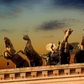 Heroes of Rome by Pieter Arnolli - Buildings & Architecture Statues & Monuments ( statue, europe, sky, rome, sunset, travel, italy )