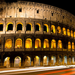 colosseum by Paul Scullion - Buildings & Architecture Public & Historical ( hostorical, colosseum, old, building, rome, italy, night, lights, , city at night, street at night, park at night, nightlife, night life, nighttime in the city )