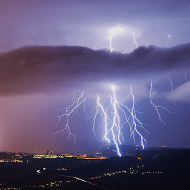 Lightning madness by Matic Cankar - Landscapes Weather ( thunder, lightning, trieste, strikes, impressive, night, storm, italy )