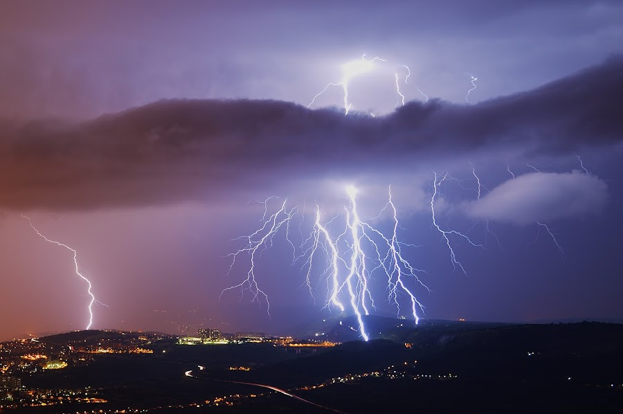 Lightning madness by Matic Cankar - Landscapes Weather ( thunder, lightning, trieste, strikes, impressive, night, storm, italy,  )