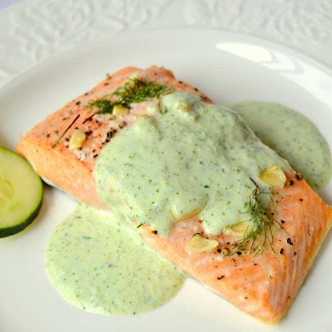 Salmon with Cucumber Cilantro Sauce