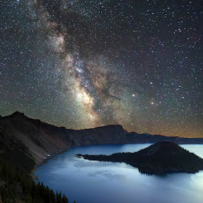 Starry Night by Ken Smith - Landscapes Starscapes ( crater lake, stars, landscape, milky way )