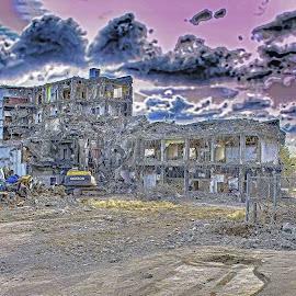 Hospital Demolition by Will McNamee - Digital Art Places ( dld3us@aol.com, gigart@aol.com, aundiram@msn.com, danielmcnamee@comcast.net, mcnamee2169@yahoo.com, ronmead179@comcast.net )