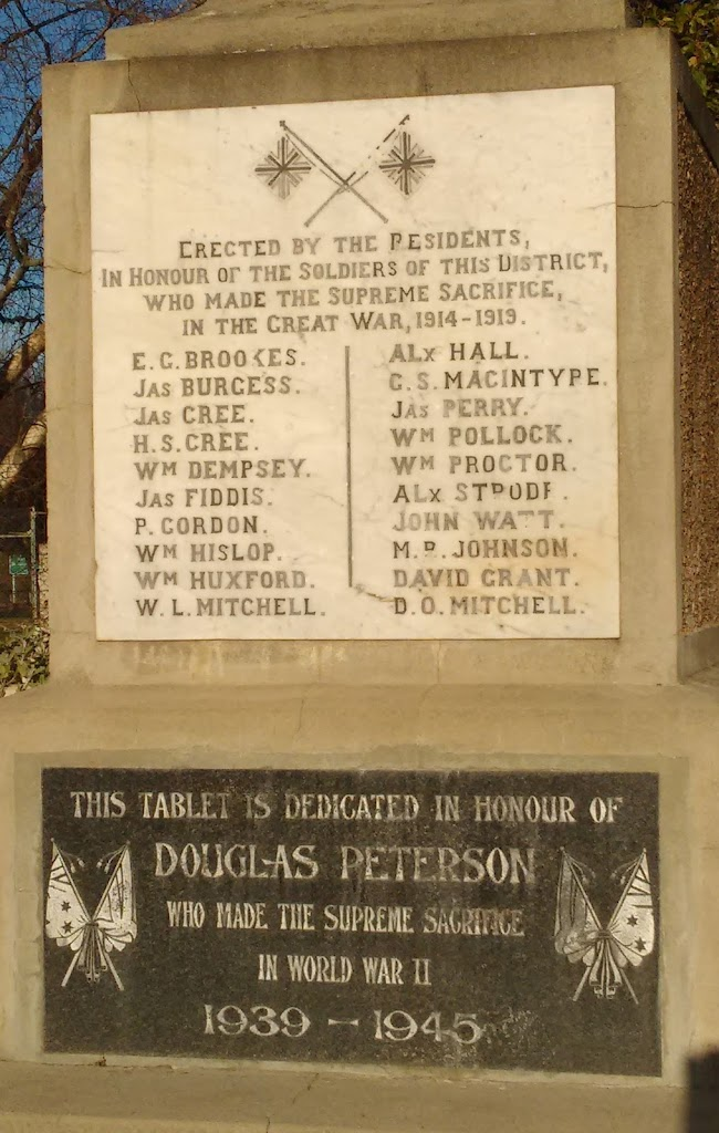 Transcript:Erected by the Presidents, in Honour of the Soldiers of this District whom made the Supreme Sacrifice, in the Great War, 1914 - 1919.E. G. Brookes.Jas Burgess.Jas Cree.H. S. Cree.Wm ...