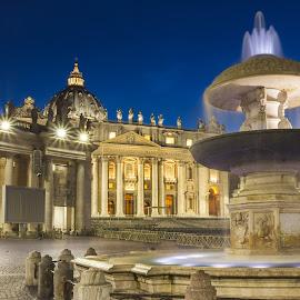 Fontana gemella di San Pietro  by David Marjanovic - City,  Street & Park  Fountains ( religion, lights, catholic, sky, rome, blue hour, colors, fountain, cathedral, night, vatican, italy, historic )