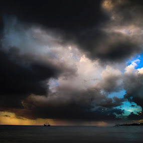 Ship in the storm by Cristobal Garciaferro Rubio - Landscapes Weather ( clouds, shore, water, sky, sunset, ship, cozumel, sea, storm )