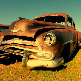 Field Car by Jennifer Ablicki - Transportation Automobiles ( field, car, headlights, chome, abandoned )